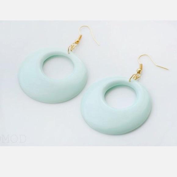 Handmade 💚 Mint Green Mod Hoop Earrings,60s Style by Poshmark